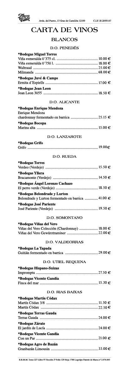 Carta de Vinos Tasca del Puerto